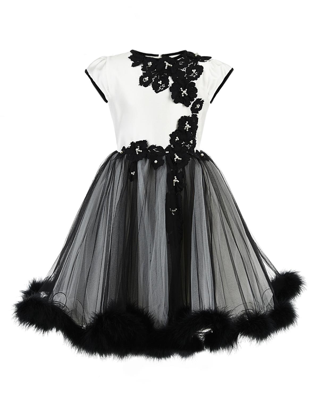 Купить Платье с кружевом и перьевой отделкой Lesy