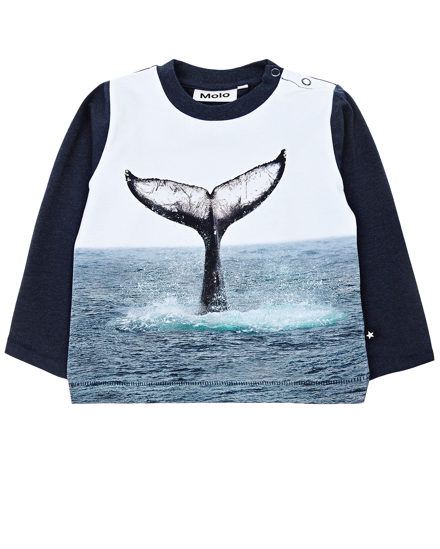 Свитшот с принтом Whale TailСвитеры, Толстовки<br>Темно-синий свитшот MOLO из хлопкового трикотажа. Модель прямого кроя, с круглым вырезом и длинными рукавами. Свитшот декорирован фирменным принтом с изображением хвоста кита. Застегивается на плече на кнопки.