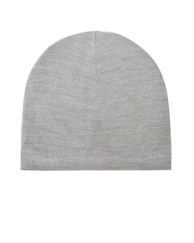Вязаная шапка с фактурным узором MoloШапки<br>Серая шапка Molo связана из мягкой смесовой пряжи. Модель отлично сохраняет тепло, благодаря плотной вязке и высокому содержанию натуральной шерсти. Изделие украшено фактурным узором в виде фирменной эмблемы бренда — пятиконечной звезды.
