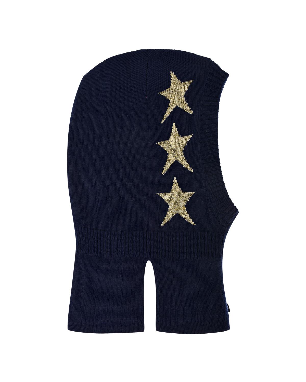 Шапка-шлем с флисовой подкладкой MoloШлемы<br>Синяя шапка Molo выполнена из мягкой смесовой пряжи на основе шерсти. Внутри -  теплая флисовая подкладка. Модель украшена изображением звезд. Изделие надежно защищает уши и шею ребенка.