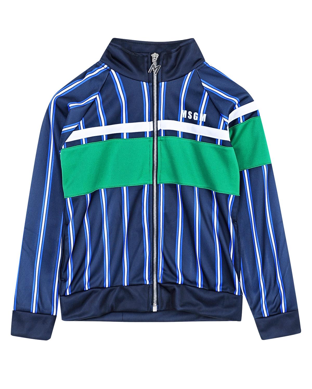 Куртка спортивная MSGMТолстовки, Свитшоты<br>Спортивная куртка MSGM с длинными рукавами реглан из синего трикотажа в тонкую полоску. Модель с воротником-стойкой и застежкой на молнию. На груди и одном рукаве контрастные вставки и принт в виде белой полосы и названия бренда.