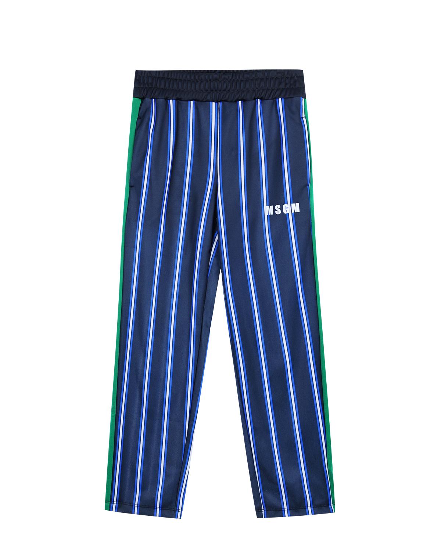 Брюки спортивные MSGMСпортивная одежда<br>Спортивные брюки MSGM синего трикотажа в полоску. Пояс на резинке не стесняет движения. По боковым швам брюки отделаны контрастными зелеными вставками. Симметричные карманы по бокам.