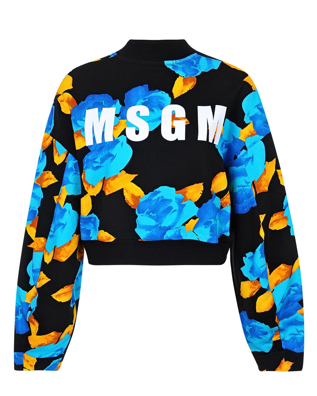 Джемпер спортивный MSGMТрикотаж<br>Укороченная толстовка MSGM идеально дополнит комбинацию с брюками или джинсами с высокой посадкой. Контрастный крупный принт quot;розыquot; в сочетании с лого MSGM - выбор ярких личностей!