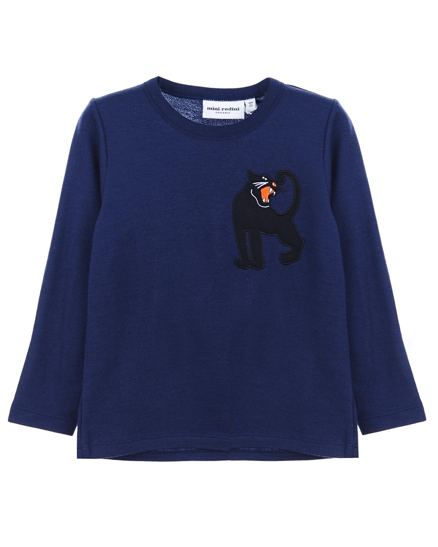 Свитшот Mini RodiniТолстовки, Свитшоты<br>Темно-синий свитшот Mini Rodini из хлопкового трикотажа. Модель с круглым вырезом и длинными рукавами. Свитшот декорирован принтом с изображением черной пантеры.