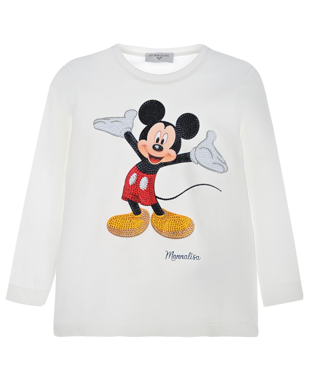 "Толстовка с принтом "",Mickey Mouse"", и стразами Monnalisa "",Mickey"