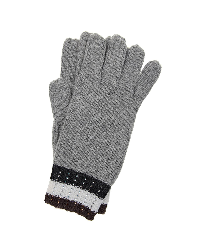 Перчатки с декоративными стразамиВарежки и перчатки<br>Перчатки Monnalisa выполнены из мягкой смесовой пряжи. Эластичные манжеты в трехцветную полоску украшены сверкающими стразами. Модель универсального серого оттенка станет удачным завершением повседневного образа.