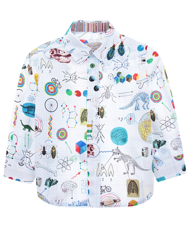 Рубашка Paul SmithБлузы, Рубашки, Туники<br>Белая хлопковая рубашка в голубую клетку. Модель прямого кроя с отложным воротником и длинными рукавами с манжетами. Рубашка декорирована сплошным принтом с изображениями из энциклопедии. Застегивается на пуговицы.