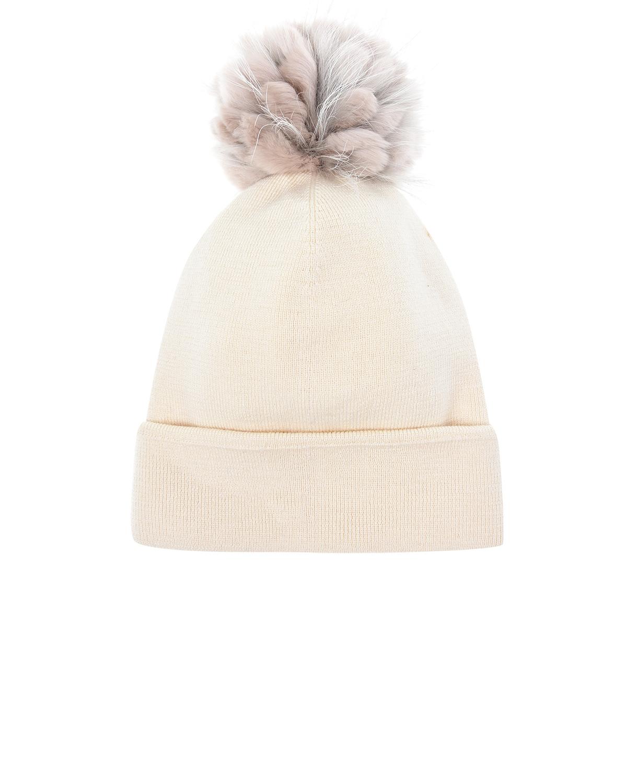 Шапка из шерсти с помпоном из меха ReginaШапки<br>Шапка Regina выполнена из чистой шерсти пудрового цвета. Мягкий материал отлично удерживает тепло. Модель с широким отворотом украшена пушистым помпоном из натурального меха. Отличный вариант для повседневного гардероба.