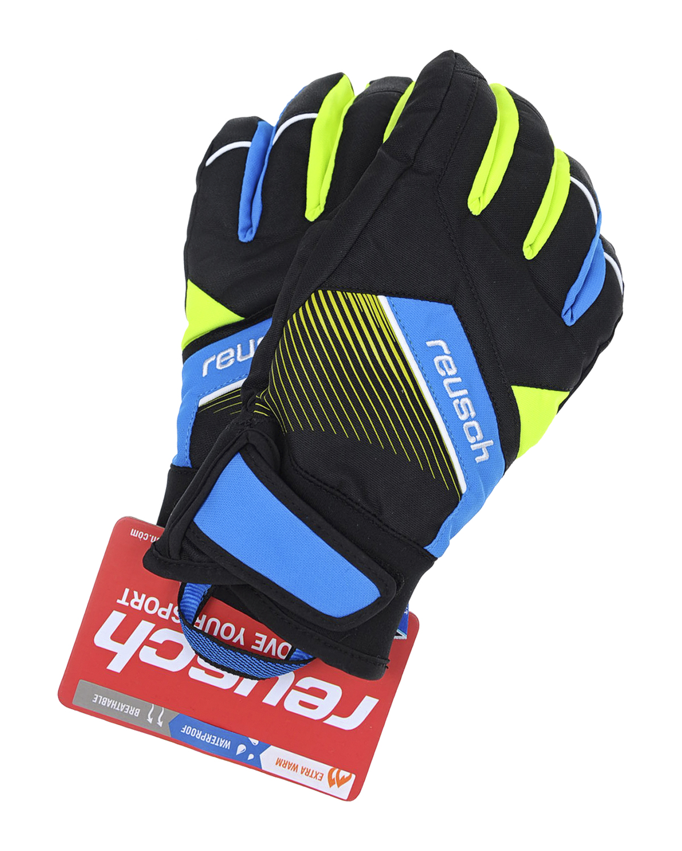Непромокаемые перчатки ReuschВарежки и перчатки<br>Черные непромокаемые перчатки Reusch. Модель с яркими зелеными и синим вставками и регулируемой застежкой-липучкой на запястье.