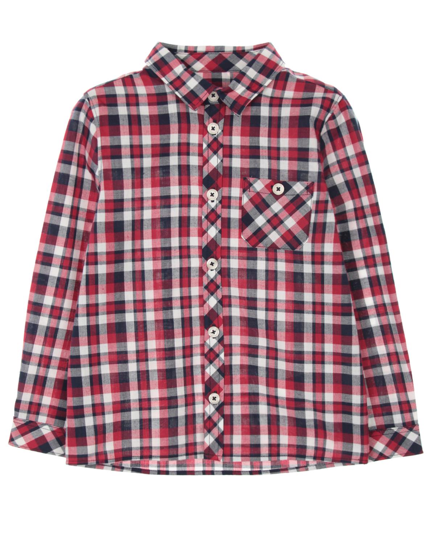 Рубашка Tartine et ChocolatРубашки<br>Хлопковая рубашка Tartine et Chocolat в красно-бело-черную клетку. Модель прямого кроя, с отложным воротником, длинными рукавами с манжетами и накладным нагрудным карманом. Застегивается на пуговицы.