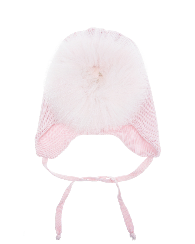 Шапка Il TreninoШапки<br>Розовая шерстяная шапка Il Trenino. Модель с ушками и завязками. Шапка декорирована аппликацией в виде льва с меховой гривой.