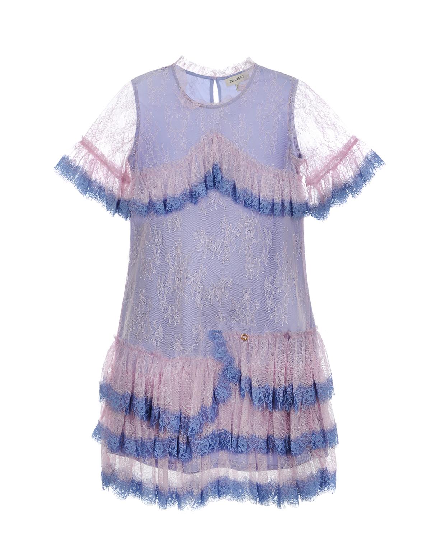 Купить со скидкой Кружевное платье с оборками