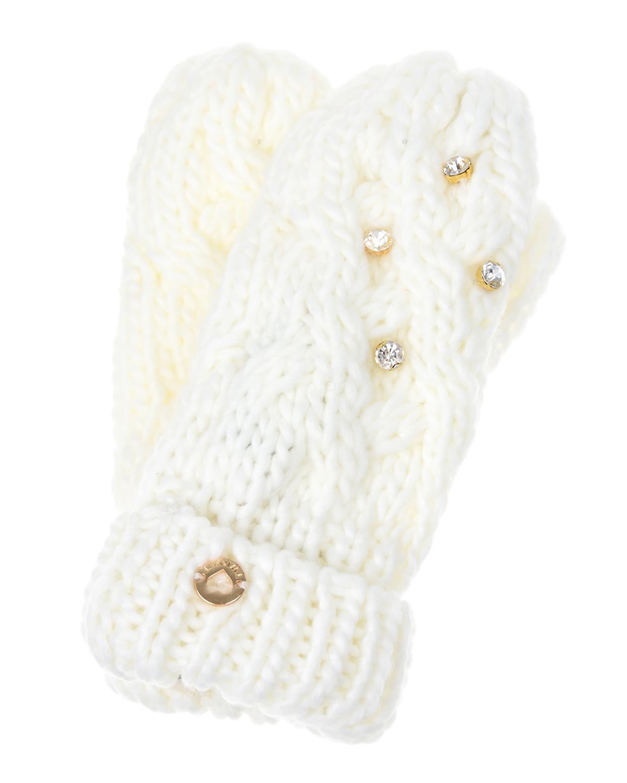 Варежки со стразами Twin SetВарежки и перчатки<br>Кремовые вязаные варежки Twin Set, расшитые крупными стразами.