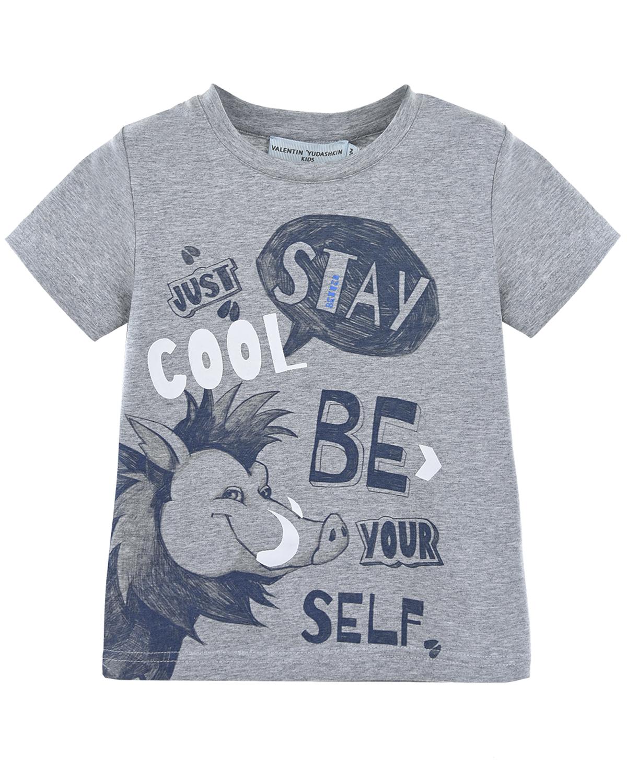 Купить со скидкой Хлопковая футболка с принтом