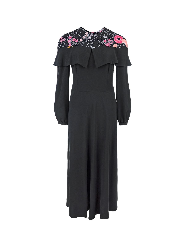 Платье VivettaПлатья<br>Платье-макси Vivetta черное приталенное с принтованой кокеткой quot;цветыquot;, отделанной воланом, с длинным рукавом  quot;тюльпанquot;.
