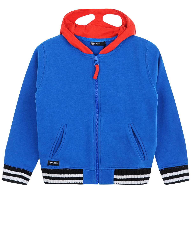 Спортивная куртка с капюшономСпортивная одежда<br>Синяя спортивная куртка Yporque из хлопкового трикотажа. Модель с красным капюшоном, отделкой подола и манжет резинкой в черно-белую полоску и двумя карманами на молнии. Капюшон куртки дополнен прорезями для глаз и декорирован белыми полосами.