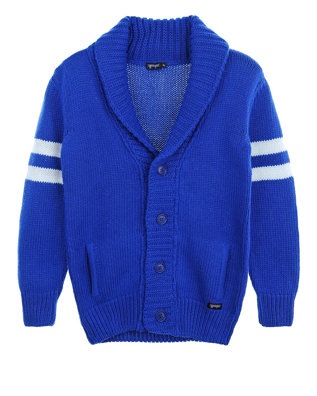 Кардиган из смесовой шерсти YporqueКардиганы, Кофты<br>Синий кардиган Yporque из смесовой шерсти. Модель с V-образным вырезом, воротником, длинными рукавами с манжетами и двумя передними карманами. Кардиган декорирован парными белыми полосками на рукавах. Застегивается на пуговицы.