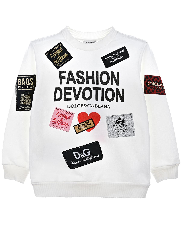 Купить Толстовка из хлопка с принтом и нашивками, Dolce&Gabbana