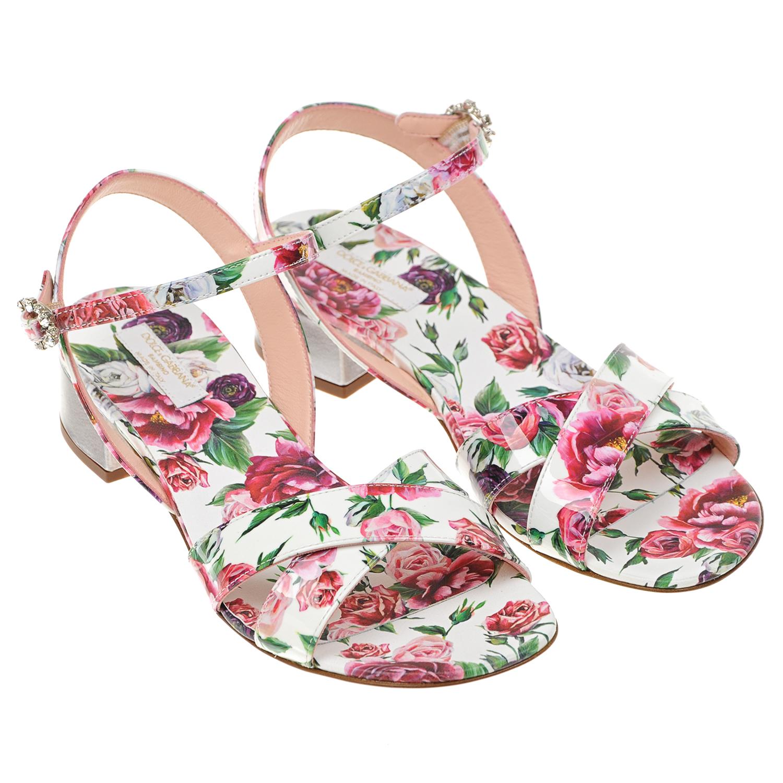Лаковые босоножки с цветочным принтом Dolce&Gabbana