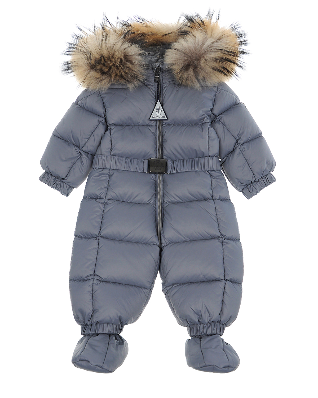 Детский комбинезон серого цвета Moncler детский фото