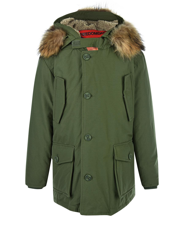 Купить со скидкой Утепленная куртка-парка с фотопринтом на подкладке Freedomday детская