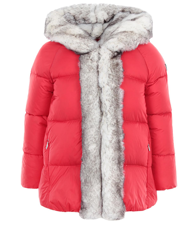 Стеганая куртка с отделкой из меха IL Gufo детская фото
