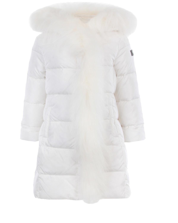 Утепленное пальто приталенного кроя с отделкой из меха IL Gufo детское фото