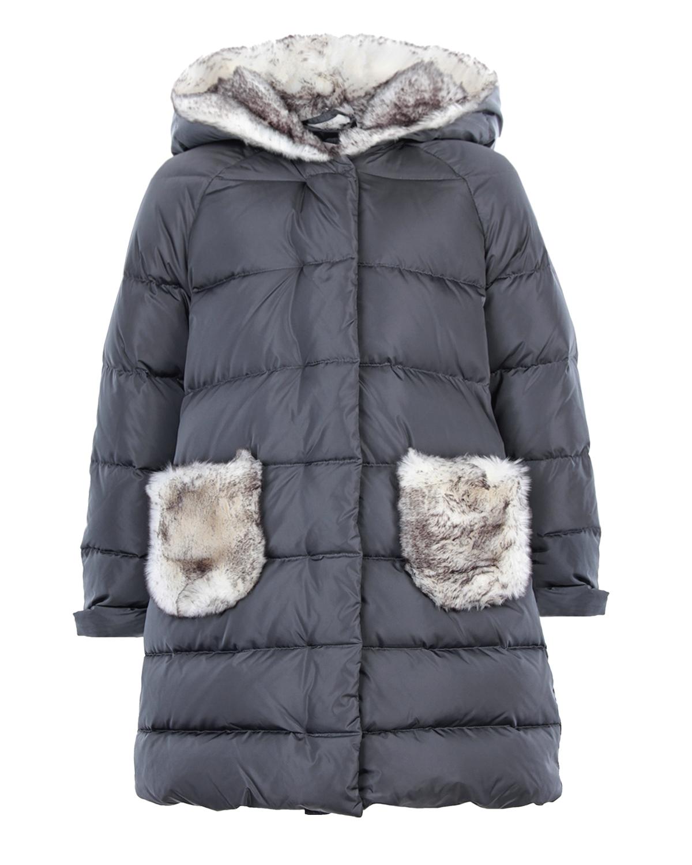 Пальто IL Gufo с отделкой из эко меха