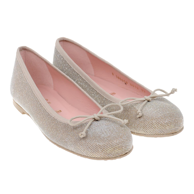 Купить Балетки с бантами Pretty Ballerinas детские, Золотой, верх:текстиль, подкладка:нат.кожа, подошва:полимерные материалы