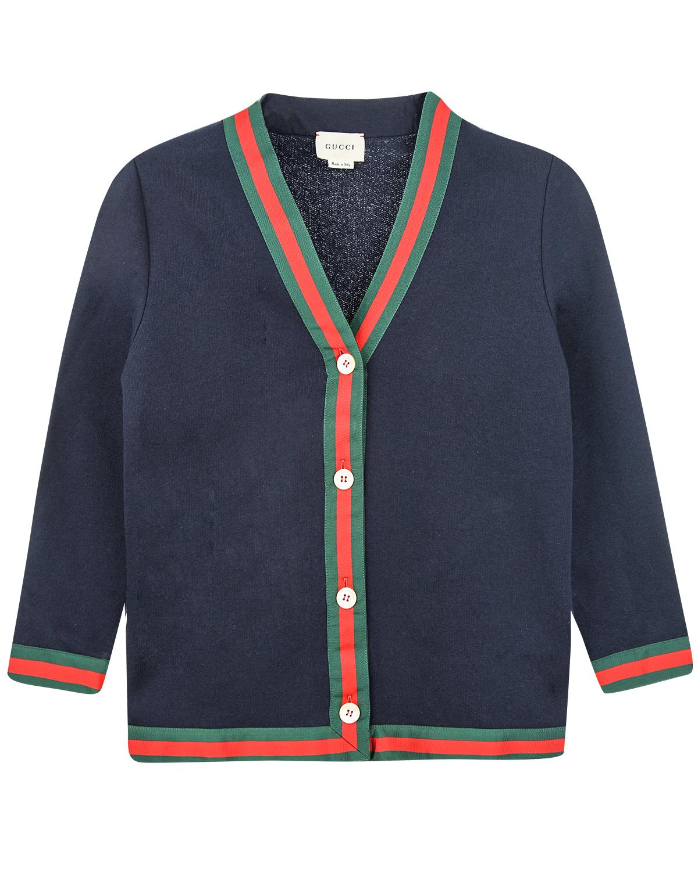 Купить Кардиган синего цвета на пуговицах GUCCI детский, Синий, 100%хлопок, 65%вискоза+35%хлопок