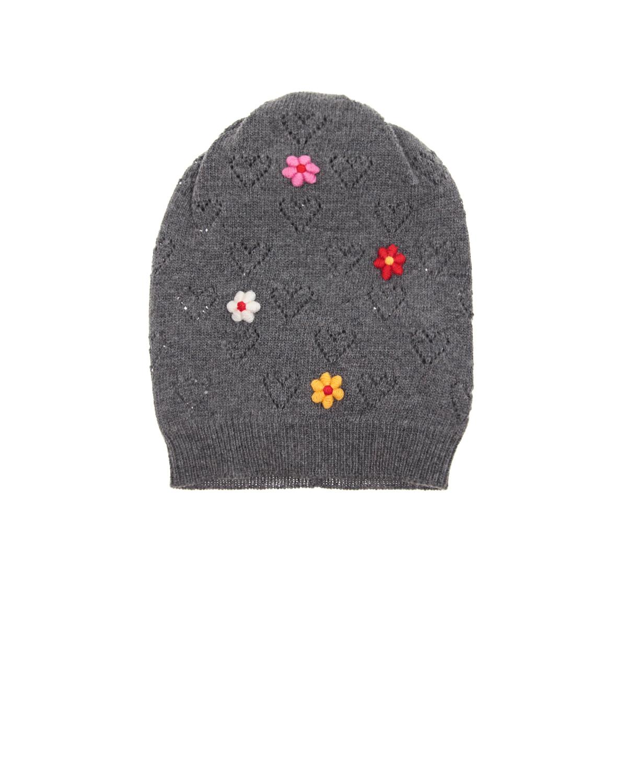 Шапка Dolce&GabbanaШапки<br>Серая вязаная шапка DolceGabbana из смесовой шерсти. Модель декорирована ажурными сердечками и вышитыми цветами.
