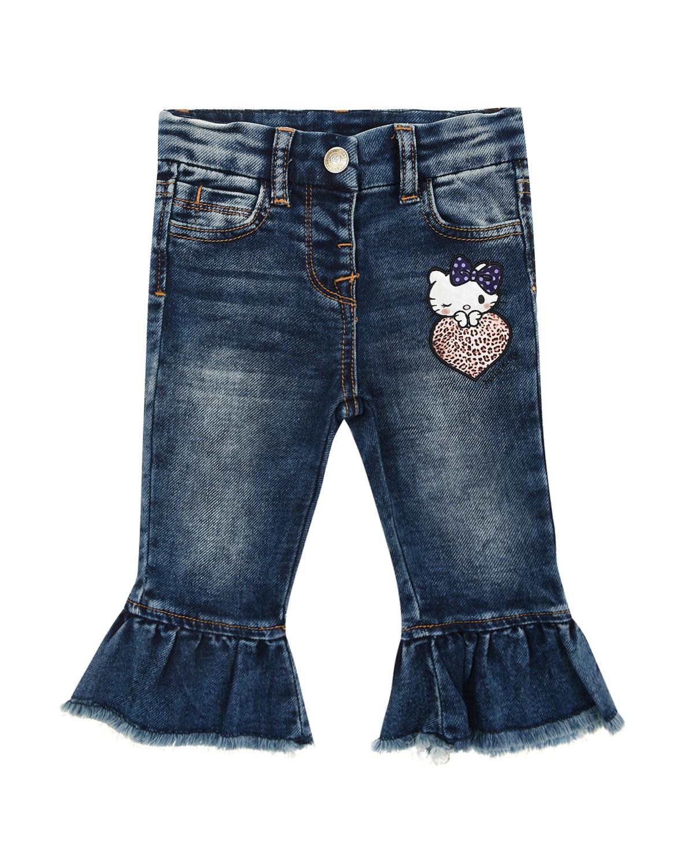 Купить со скидкой Синие джинсы с воланами Monnalisa детские