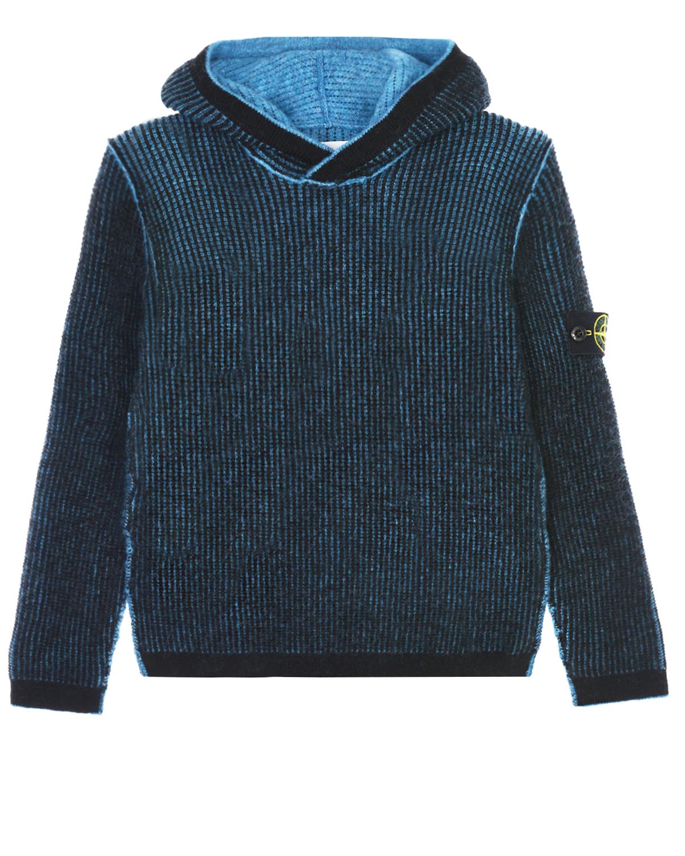 Толстовка-худи с логотипом на рукаве Stone Island детская фото