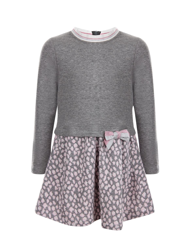 Купить Трикотажное платье с пятнистой юбкой Aletta детское, Серый, 81%хлопок+19%полиэстер