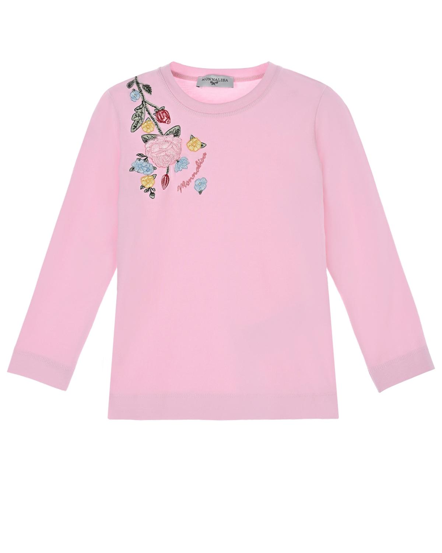 Розовая толстовка с цветочной вышивкой Monnalisa детская фото