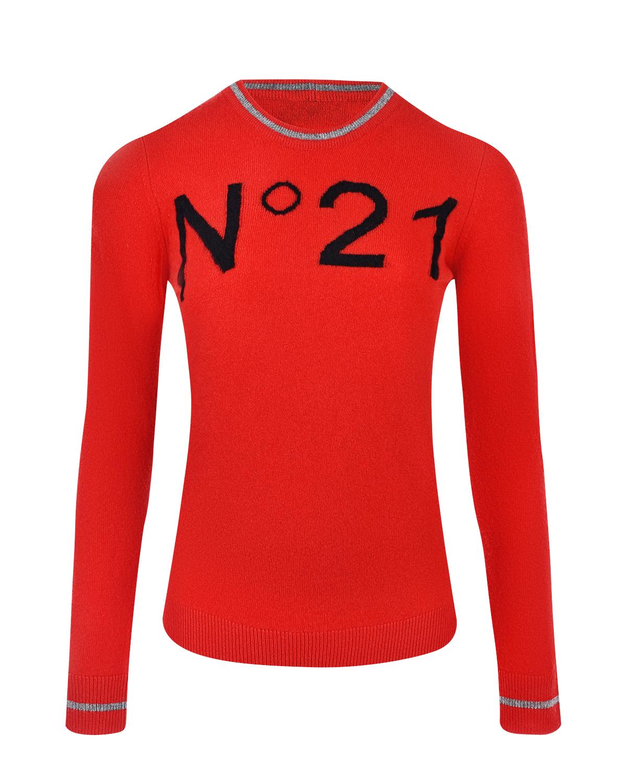 Красный джемпер из шерсти с логотипом No. 21 фото