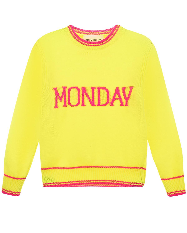 Купить Желтый джемпер Monday из шерсти и кашемира Alberta Ferretti детский, 85%шерсть+15%кашемир