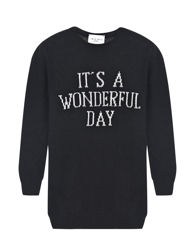 Черное платье-свитер из шерсти и кашемира Alberta Ferretti  - купить со скидкой