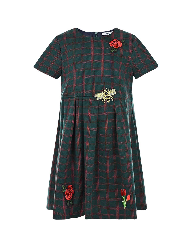 Купить Платье в клетку с аппликациями Aletta