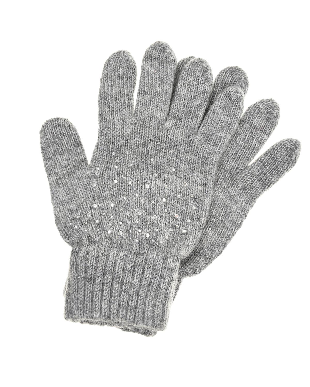 Серые перчатки со стразами Aletta детские фото