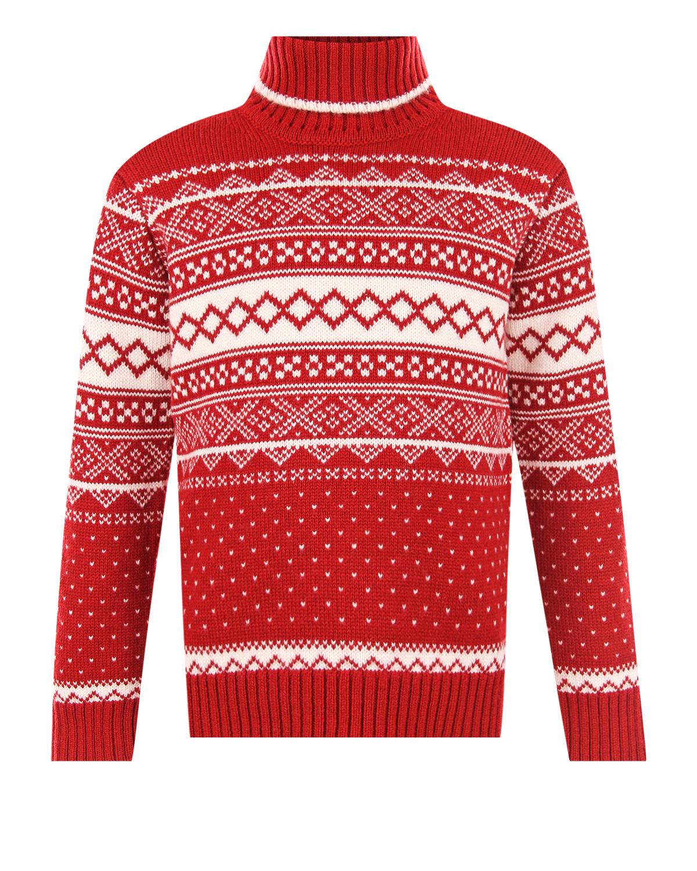 Купить Свитер из шерсти и кашемира со скандинавским орнаментом Arc-en-ciel детский, Красный, 90%шерсть+10%кашемир