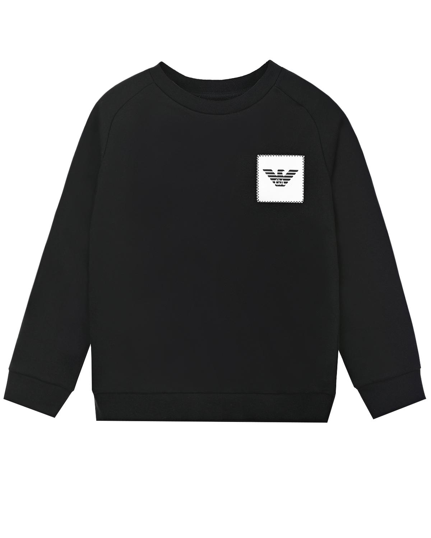 Купить Черный свитшот с контрастной аппликацией Emporio Armani детский, 72%хлопок+28%полиэстер, 97%хлопок+3%эластан