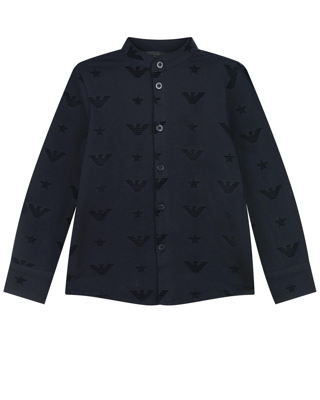 Темно-синяя трикотажная рубашка с воротником-стойкой Emporio Armani детское фото