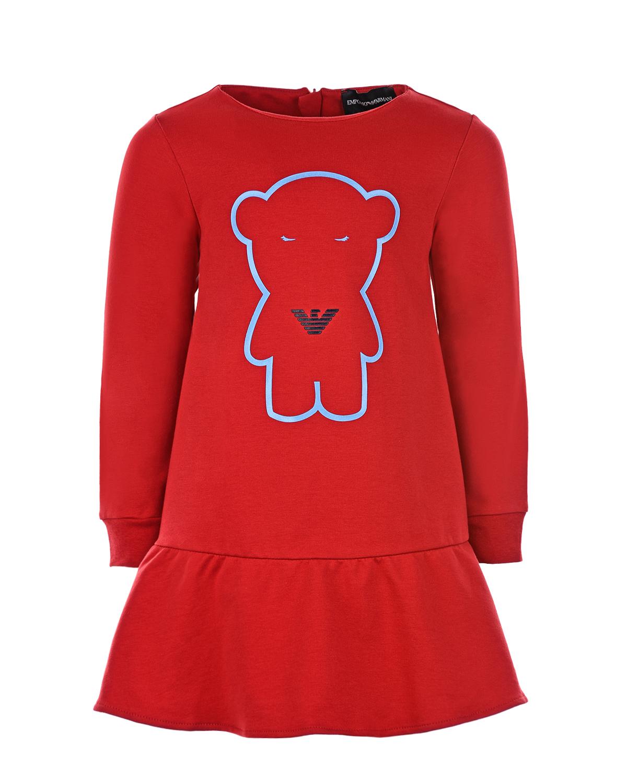 Красное платье из трикотажа Emporio Armani детское фото