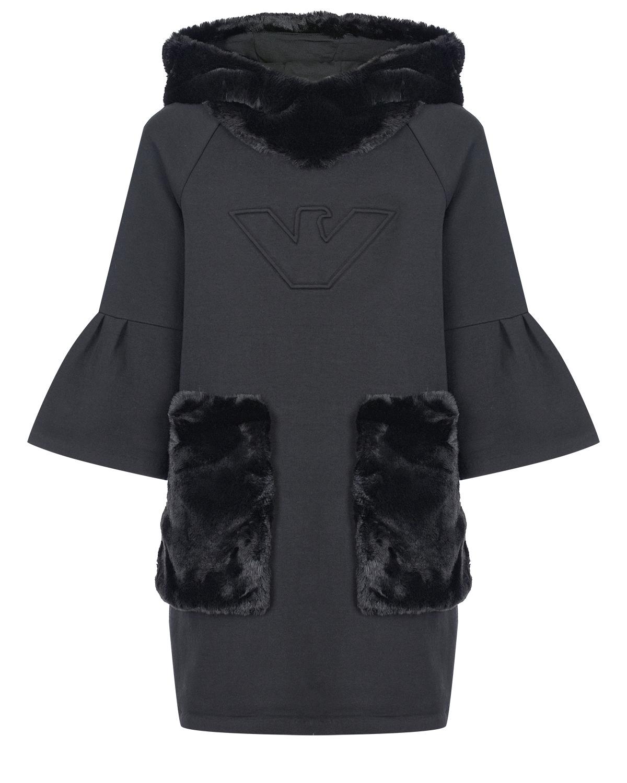 Черное платье с капюшоном из эко-меха Emporio Armani детское фото