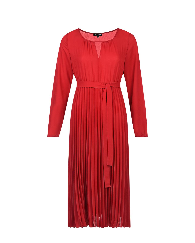 Красное платье для беременных с поясом Attesa красного цвета