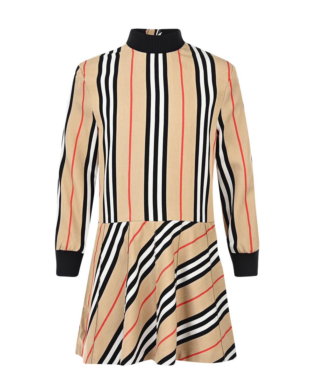 Платье в полоску с воротником-стойкой Burberry детское фото