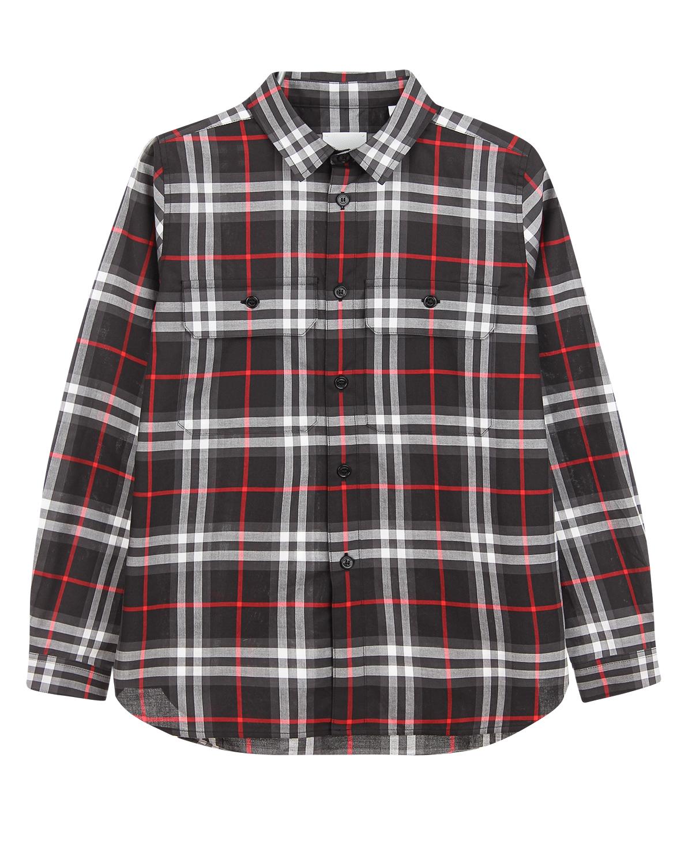Купить Черная рубашка в клетку Vintage Check Burberry детская, Мультиколор, 100%хлопок