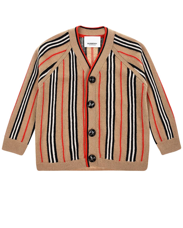 Купить Кардиган из шерсти и кашемира в полоску Burberry детский, Бежевый, 53%шерсть+47%кашемир