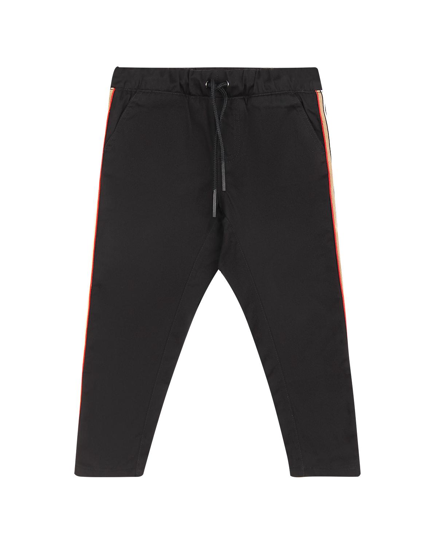Купить Поплиновые брюки с лампасами Burberry детские, Черный, 100%хлопок